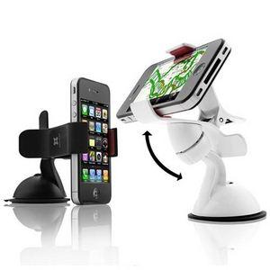 E393★スマートフォンホルダー ★iPhone & 各スマートフォン対応★ 車載・卓上用 カーマウント-White  【代引不可】