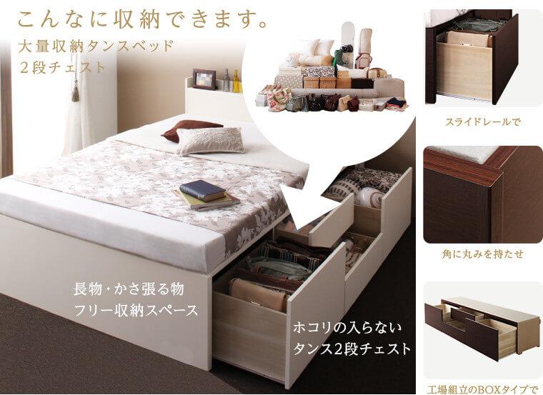 チェストベッドと引き出し付き収納ベッドは別物の収納ベッドです!